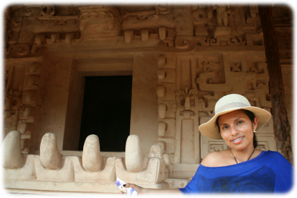 Miriam at Ek Blam Ruins, by the mouth of the Jaguar. PIcture taken by Cancun Manny while on a private tour
