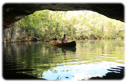 Picture of a Canoe in Tankah right outside a cave, picture taken by Cancun Manny during a Private tour from Cancun